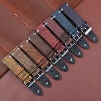 Hohe Qualität Retro Echtem Leder Armband 18mm 20mm 22mm 24mm Stianless Stahl Pin Schnalle Armband band Gürtel Ersatz