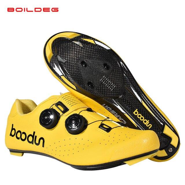 2019 novo quente sapatos de ciclismo de estrada de fibra de carbono auto-travamento ultraleve respirável wear antiderrapante profissional sapatos de corrida de bicicleta 5