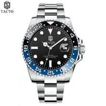 TACTO-Reloj de pulsera maestro GMT para hombre, de lujo, de acero inoxidable, japonés, de cuarzo, giratorio, luminoso, resistente al agua hasta 50m, 2020
