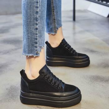 SWONCO Fashion Platform Sneakers Women #8217 s Shoes Winter 2019 Autumn Female Shoes Casual Sneakers Black Genuine Leather Shoes tanie i dobre opinie Skóra Split CN (pochodzenie) Rzym Stałe Dla dorosłych Syntetyczny RUBBER Wiosna jesień Wysoka (5 cm-8 cm) Lace-up Pasuje prawda na wymiar weź swój normalny rozmiar