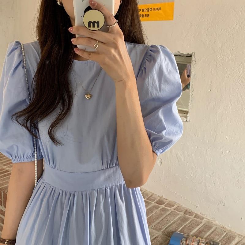 H6ee1c4a3fec54a17a8cf8ec886069c09Q - Summer O-Neck Short Sleeves Elastic-Waist Calf Length Solid Dress