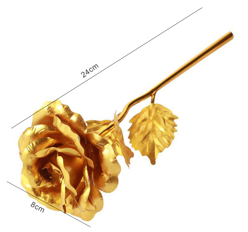 24K Gold Foil Rose Flower with Love Base Valentines Day Gift For Her Artificial Flowers Rose Birthday Gift For Girlfriend/Wife