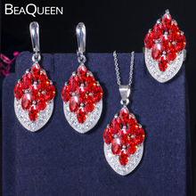 BeaQueen Gorgeous Marquise Cut Ruby Red Garnet Cubic Zircon Pave 925 Sterling Silver Earring Necklace and Ring Jewelry Set JS013 цена 2017