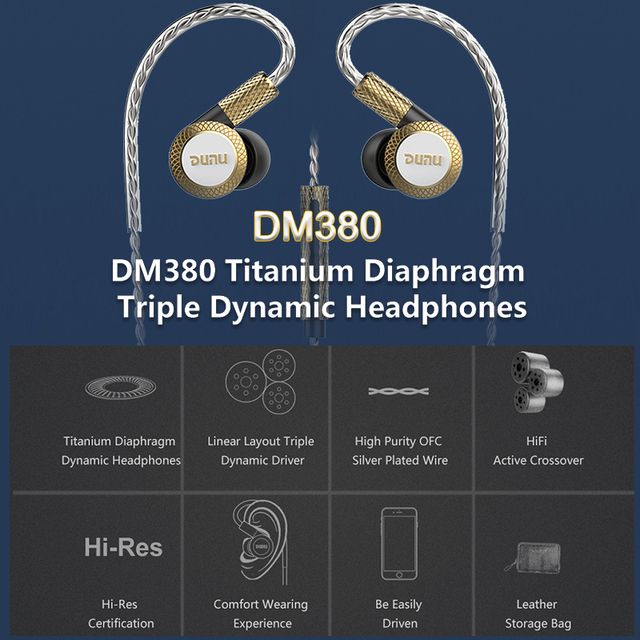 DUNU DM380 Hi-Res Linear Layout Triple Titanium Diaphragm Driver In-ear Earphone with HiFi Active Crossover MIC Easily Driven 2