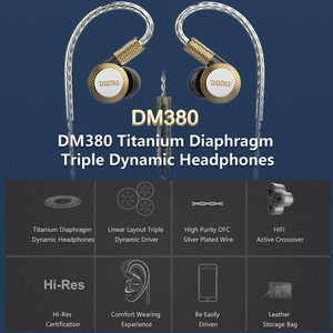 Image 2 - Dunu dm380 hi res layout linear triplo titânio diafragma driver in ear fone de ouvido com alta fidelidade ativo crossover mic facilmente conduzido