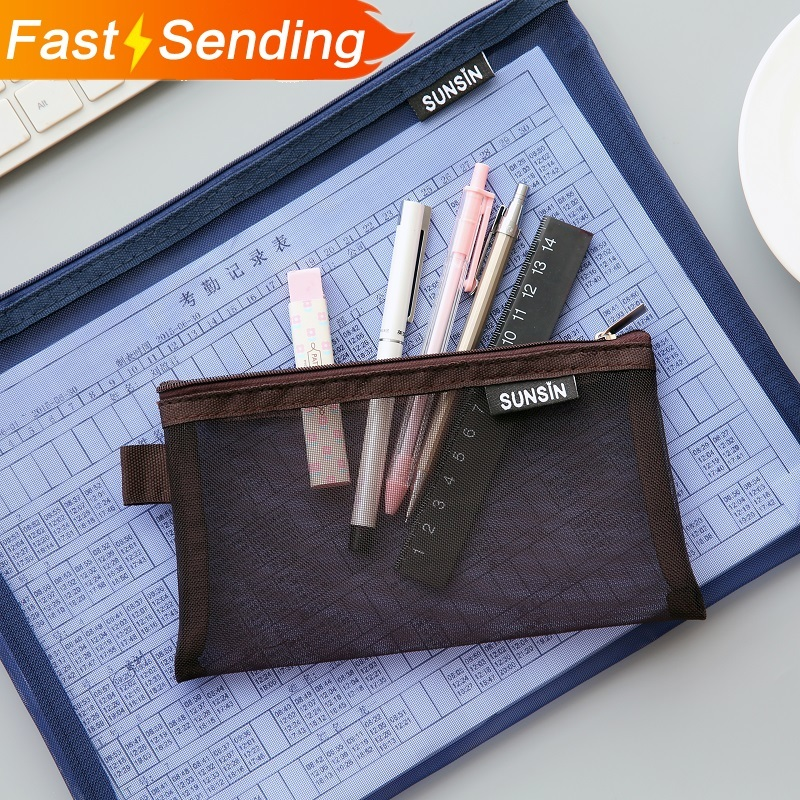 JIANWU A4 A5 B6  Simple Nylon Transparent Mesh Bag  Data Bag Folder Stationery Storage Bag School Supplies