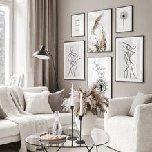 Imagem de arte de linha, pintura em tela de dandelion, arte de parede, impressão de cotação, imagem moderna para sala de estar na parede decoração