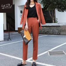 Pant Suits For Women Coral Red Blazer And Pants Set Korean Business Casual Clothing For Women Double Breasted Slim Complete Suit