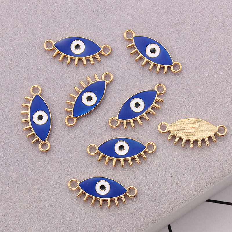 10pcs Blue Cute Eye Charms Connectors Pendant Handmade For DIY Necklace Bracelet Jewelry Making Alloy Accessories