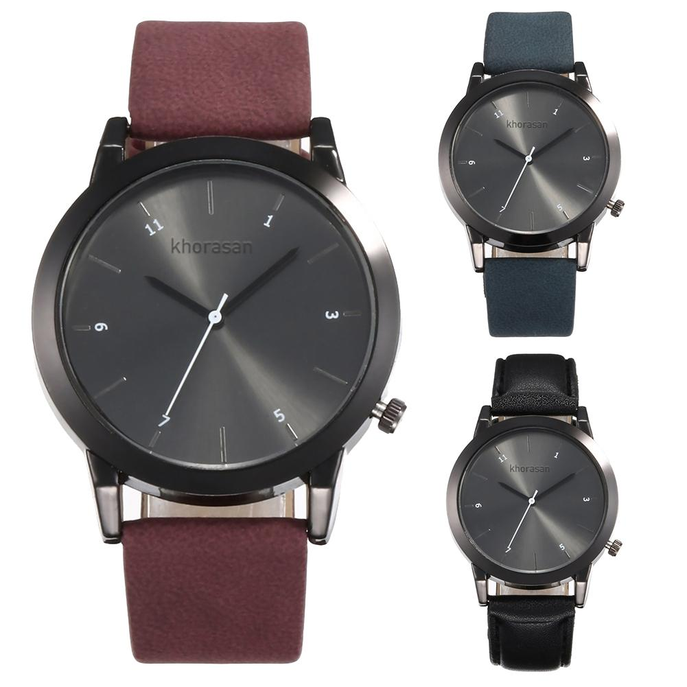 Men Women Faux Leather Band Arabic Number Analog Round Dial Quartz Wrist Watch New