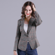 2019 Russia Plaid Women Blazer Pockets Jackets Female Retro Suits Coat