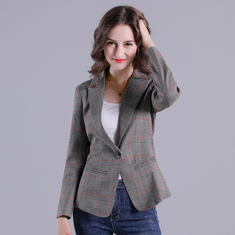 2019 Russia Plaid Women Blazer Pockets Jackets Female Retro Suits Coat Feminino Outerwear Pakistan
