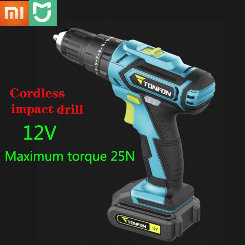 Youpin Tonfon Wireless Electric Cordless <font><b>Drill</b></font> Impact Power <font><b>Driver</b></font> 12/20V 2000mAh <font><b>Battery</b></font> 2-Speed For Profession Work image