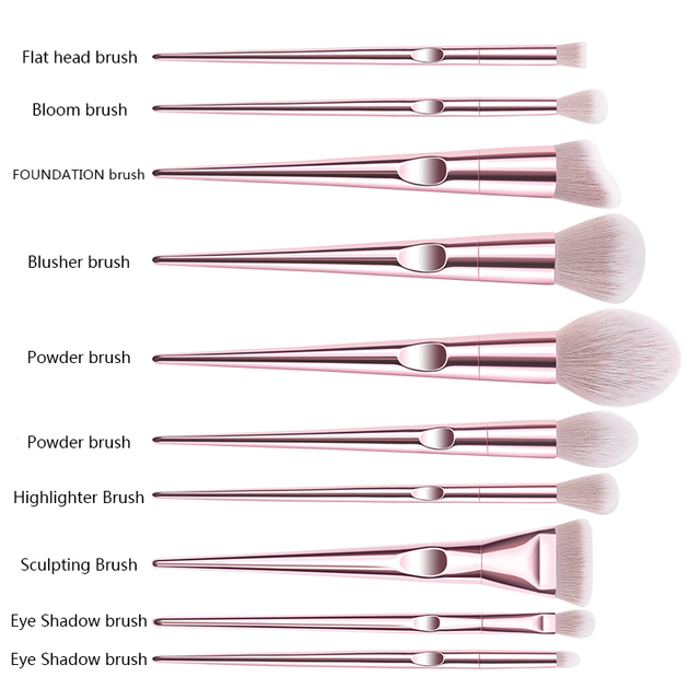 New 10Pcs Eye Makeup Brushes Set Eye Shadow Eyebrow Sculpting Power Brushes Facial Makeup Cosmetic Brush Tools 2