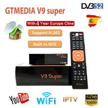 Hot GTmedia V9 Super Satellite Receiver Freesat V9 Super DVB S2 Updated GTmedia V8 Nova with CCcam Cline for 4 Year Spain C line