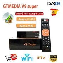 Hot GTmedia V9 Super Satellite Ricevitore Freesat V9 Super DVB S2 Aggiornato GTmedia V8 Nova con CCcam Cline per 4 Anni spagna C linea