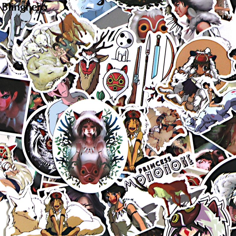 Blinghero Princess Mononoke Stickers 52Pcs/set Cartoon Stickers Photo Decals For Kids Refrigerator Stickers Wall Stickers BH0133