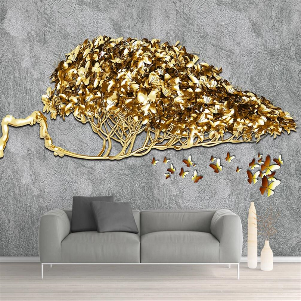 Drop Shipping Custom Large Wallpaper Mural Golden Money Tree Nordic Gold Foil 3D Background Wall Decoration Painting Wallpaper