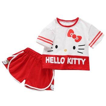 цена на Hello Kitty Baby Girls Clothes Sets T-shirt + Pants 2PCS Sport Suit Outfits Birthday Princess Costume Children Kids Clothing Set