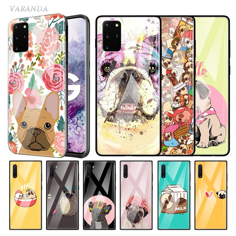 <font><b>Funny</b></font> Dog Puglie Pug Glass <font><b>Case</b></font> For <font><b>Samsung</b></font> Galaxy S10 S20 Ultra 5G S10e S9 S8 Plus <font><b>Note</b></font> 8 <font><b>9</b></font> 10 Lite Phone Tampa Fall image