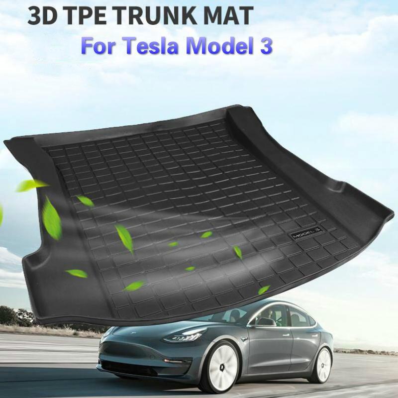 BAFIRE Wasserdichte Stamm Matten Für Tesla Modell 3 Angepasst Auto Hinten Stamm Lagerung Matte Fracht Tray Stamm Schutz Pads Matte