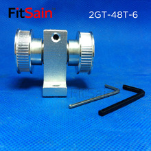 цены FitSain-2GT synchronous wheel 48-tooth pulley drive bearing housing idler auxiliary wheel Double bearing