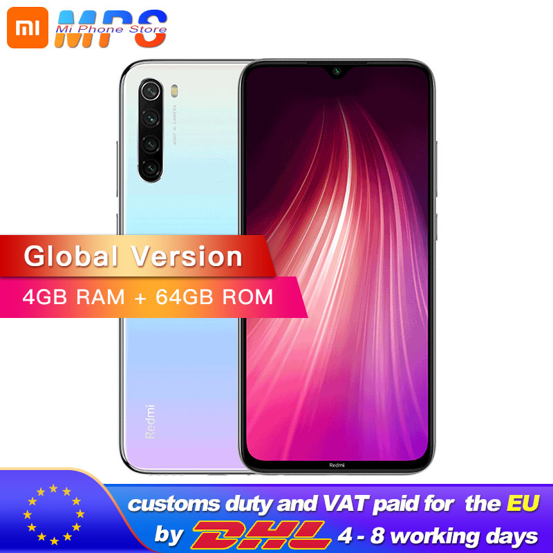"Global Version Xiaomi Redmi Note 8 64GB 4GB Snapdragon 665 Octa Core Smartphone 6.3"" 48MP Quad Rear Camera MobilePhone"