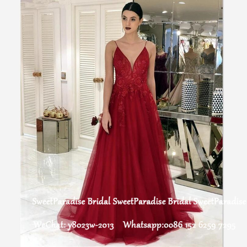 Chic Spaghetti Strap Long Mother Of The Bride Dresses Burgundy Lace And Tulle A Line Formal Evening Dress Prom For Women