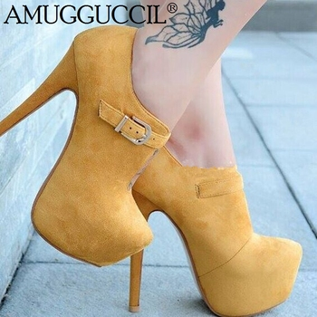 2020 New Plus Big Size 35-52 Yellow Buckle Fashion Sexy High Heel Platform Spring Summer Female Ladies Shoes Women Pumps D1301