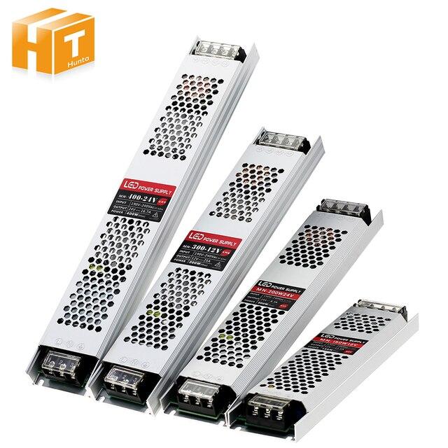 Ultra Thin LED Power Supply DC 12V 24V Lighting Transformers 60W 100W 150W 200W 300W 400W AC190 240V Driver For LED Strips