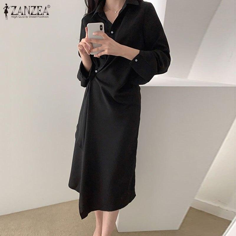 2021 работа миди Открытое платье без рукавов весна женская обувь Однотонная рубашка платье ZANZEA на каждый день OL платья с длинным рукавом и аси...