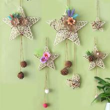 5 sztuk 9cm gwiazda rattanowa Hollow DIY Rattan Ornament Rattan dekoracji na boże narodzenie Home DIY wystrój gwiazda rattanowa tanie tanio CN (pochodzenie) Star Ślub i Zaręczyny przyjęcie urodzinowe Na imprezę