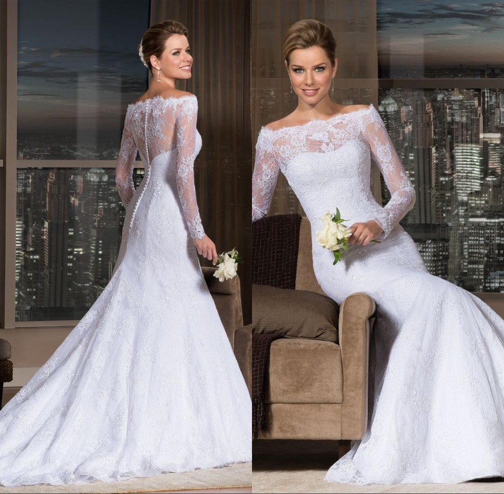 Vestido De Festa Long Robe De Mariee 2019 Elegant Long Sleeve Lace Bridal Gown Vestido De Noiva Renda Mermaid Wedding Dresses