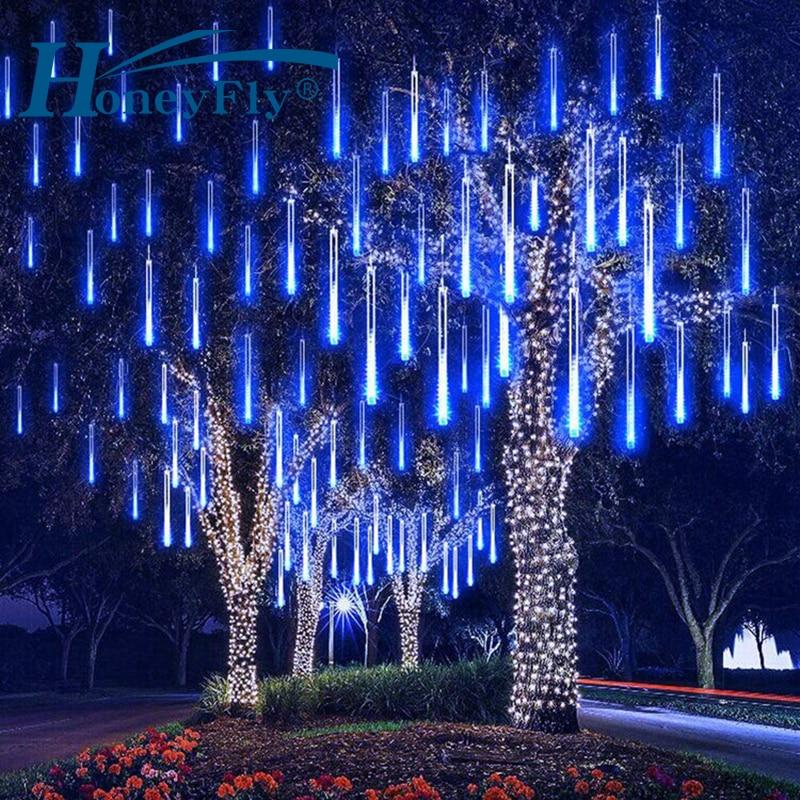HoneyFly Meteor Shower LED String Lights 30/50cm 8 Tubes LED Christmas Lights Wedding Party Holiday Decoration