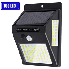 100 светодиодный светильник на солнечной батарее с датчиком движения PIR, уличный солнечный светильник, садовый светильник на солнечной батарее, водонепроницаемый энергосберегающий уличный светильник