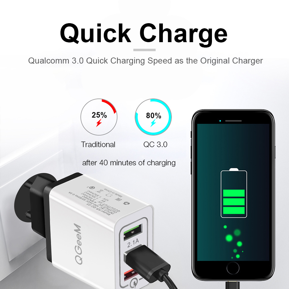 QGEEM 3 Port USB Charger for iPhone X Xiaomi EU US Plug QC 3.0 Fast Phone Charger Quick Charge 3.0 Portable Wall Charger Adapter