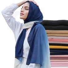 Омбре шифон хиджаб шарф шали градиент мусульманские шарфы обертывание тени шарфы-повязки/шарф 180*70 см