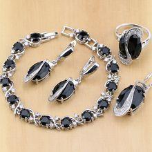 925 Sterling Zilveren Sieraden Kits Zwarte Zirconia Wit Cz Sieraden Sets Voor Vrouwen Oorbellen/Hanger/Ketting/ringen/Armband