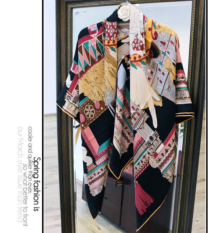 Magic Pegasus Palace Print Lady High Grade Silk With Cashmere Scarf Pashmina Scarves Multi Accessory Drop Shipping YR50