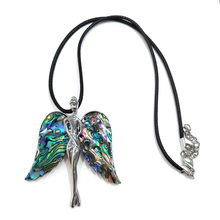 2019 Fashion New Shell Pendants Necklace Charms Jewelry for Men Women Angle Wings Natural Leather Chain