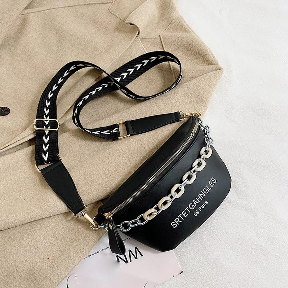 Stylish Letter Print Leather Crossbody Bag For Women Shoulder Bags Chain Leather Chest Bags Brand Design Ladies Bag #20