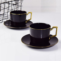 custom made Light luxury European ceramic coffee cup dish bone china tea cup afternoon tea set cup dish custom