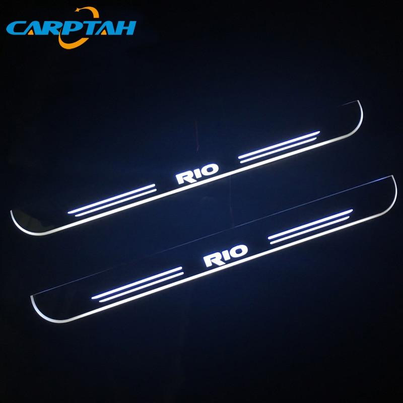 CARPTAH Trim Pedal Car Exterior Parts LED Door Sill Scuff Plate Pathway Dynamic Streamer light For Kia Rio K2 2015 - 2017 2018