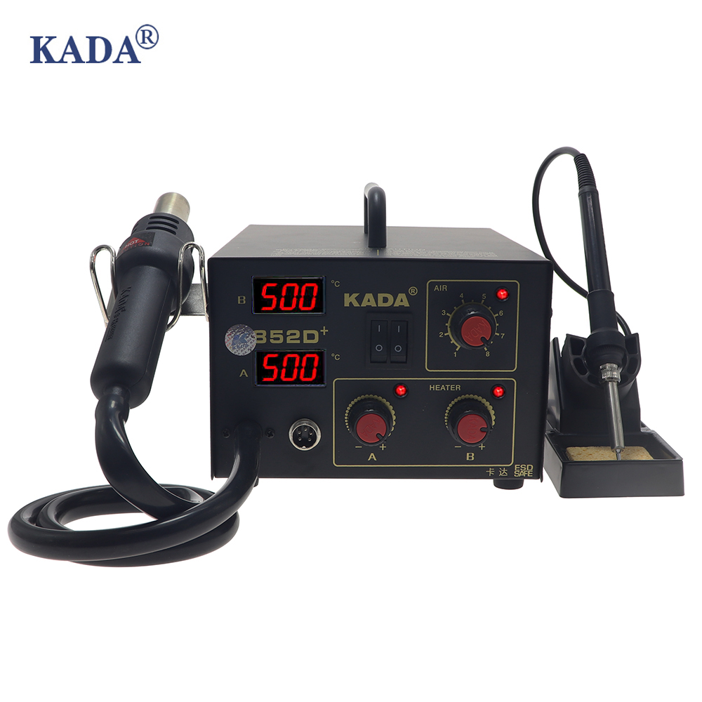 KADA 852D 852D   2 in 1 SMD rework station hot air gun desoldering station telephone repair electric iron 952D