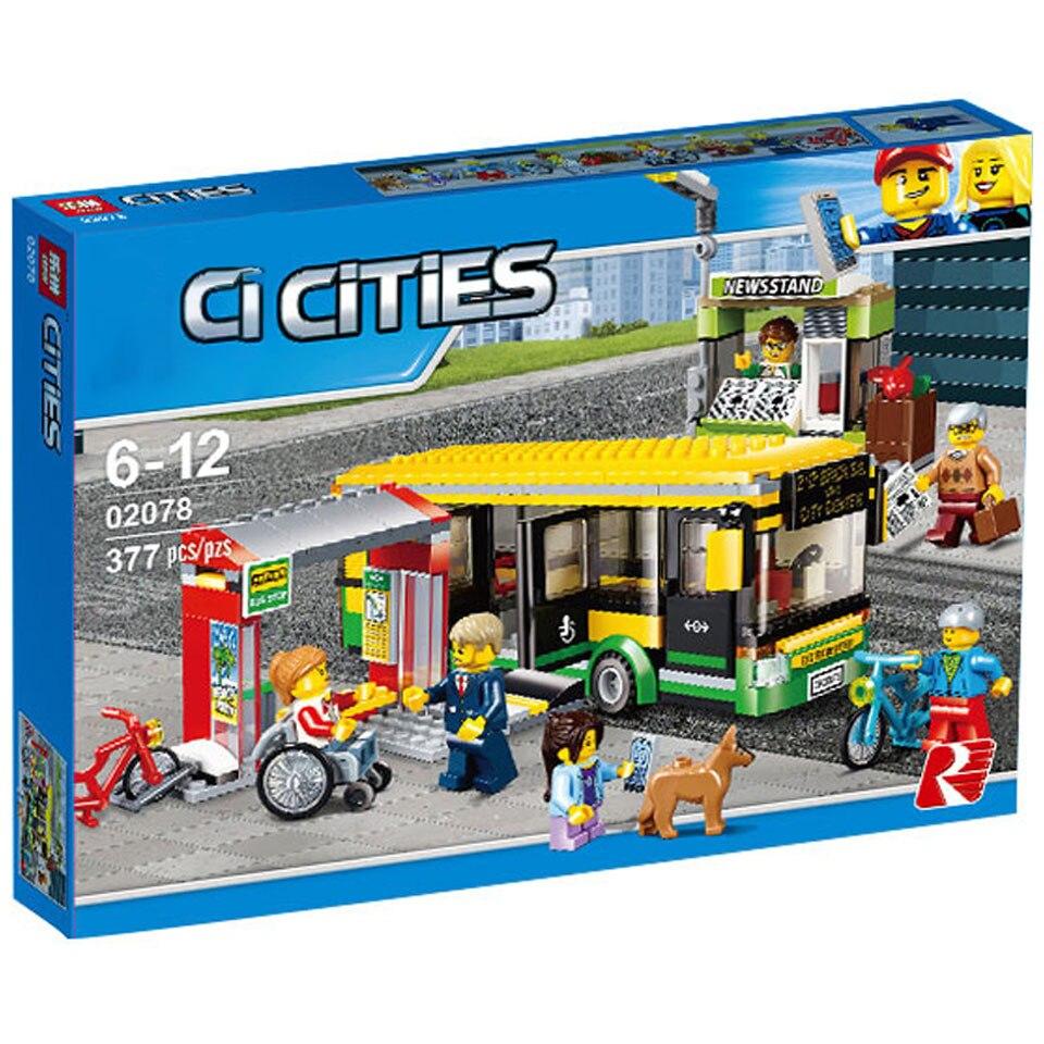 02078 60154 совместимый конструктор городской автобус станция классические строительные блоки 377 шт. кирпичи модели газетчика игрушки