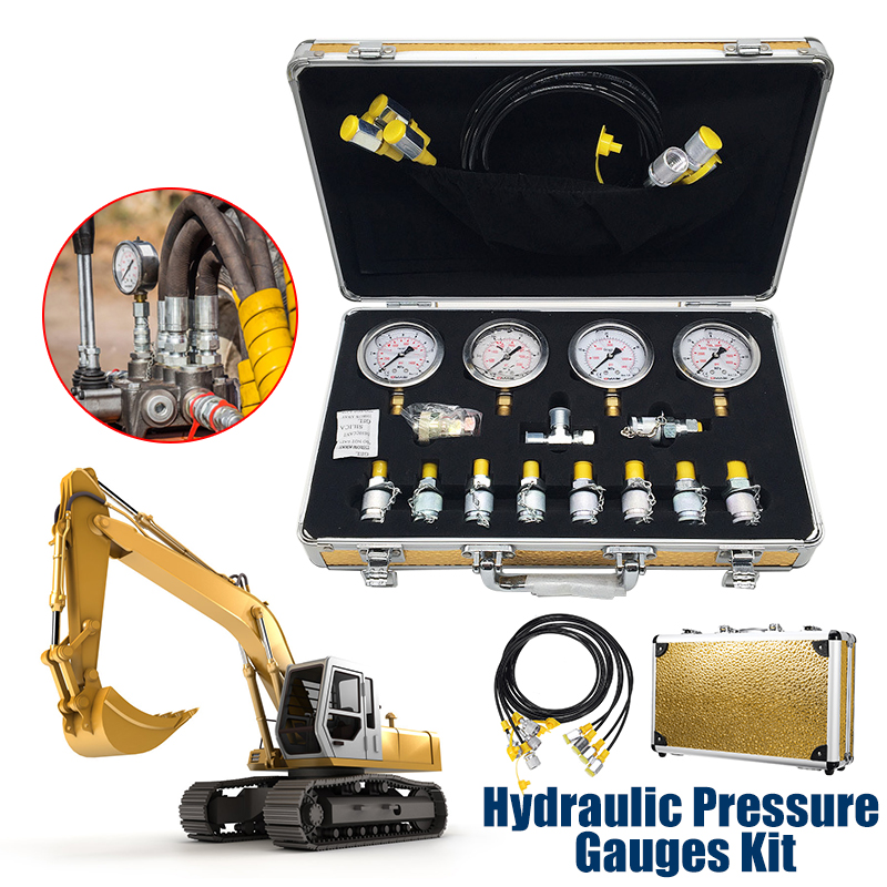 Portable Hydraulic pressure guage Excavator Hydraulic Pressure Test Kit w  Testing Point Coupling vacuum Coupling and gauge Tool