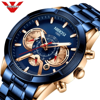 NIBOSI 2020 Men's Watch Top Luxury Brand Big Dial Blue Quartz Men Watches Chronograph Sport Wristwatch Man Relogio Masculino reef tiger brand chronograph sport watches for men dial skeleton fashion design luminous swiss quartz watch relogio masculino