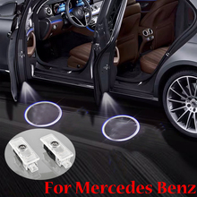 For Mercedes Benz CLA CLS E Class C207 C218 A207 C117 AMG 2 Pieces Car Door Led Welcome Light Laser Projector Ghost Shadow Light bigbigroad car hud display windshield projector for mercedes benz cla class 180 200 220 250 260 c117 gle class 320 350 450 400