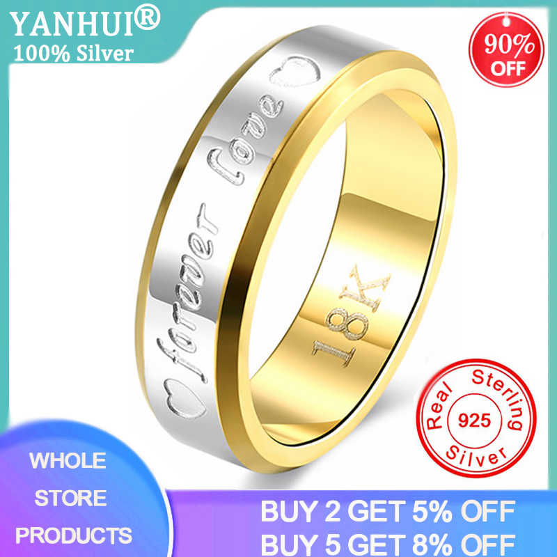 خواتم زفاف للأزواج للنساء والرجال 18K الذهب 925 الفضة البديلة للأبد الحب القلب نمط خاتم عاشق هدية لا تتلاشى غرامة مجوهرات