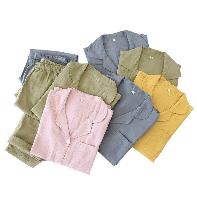 אוהבי פיג מה סט נוחות גזה כותנה מוצק צבע הלבשת עבור גברים ונשים זוגות אביב סתיו מלא שרוול Homewear